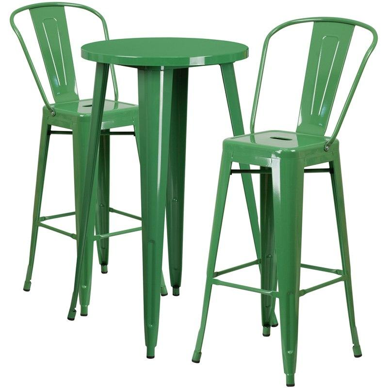 Flash Furniture CH-51080BH-2-30CAFE-GN-GG 24'' Round Green Metal Indoor-Outdoor Bar Table Set with 2 Cafe Stools