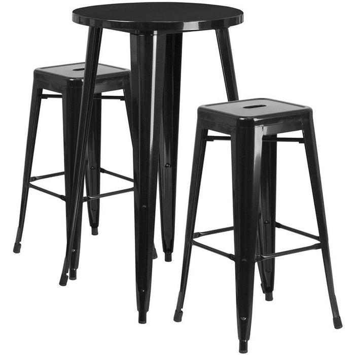 Flash Furniture CH-51080BH-2-30SQST-BK-GG 24'' Round Black Metal Indoor-Outdoor Bar Table Set with 2 Square Seat Backless Stools