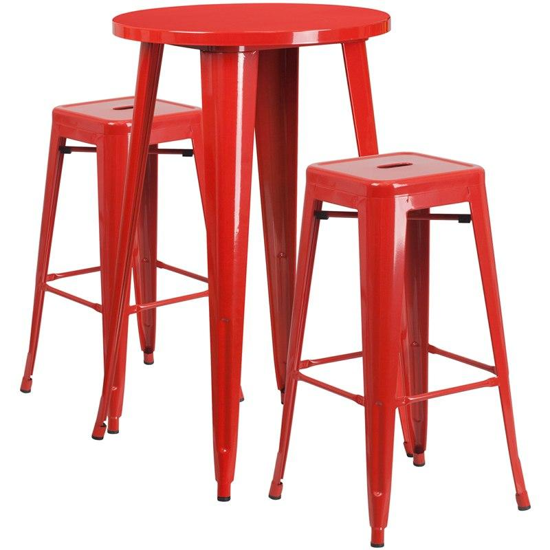 Flash Furniture CH-51080BH-2-30SQST-RED-GG 24'' Round Red Metal Indoor-Outdoor Bar Table Set with 2 Square Seat Backless Stools
