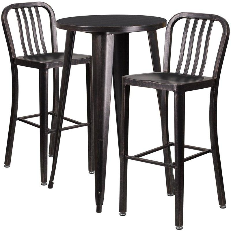 Flash Furniture CH-51080BH-2-30VRT-BQ-GG 24'' Round Black-Antique Gold Metal Indoor-Outdoor Bar Table Set with 2 Vertical Slat Back Stools
