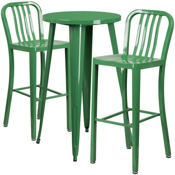 Flash Furniture CH-51080BH-2-30VRT-GN-GG 24'' Round Green Metal Indoor-Outdoor Bar Table Set with 2 Vertical Slat Back Stools