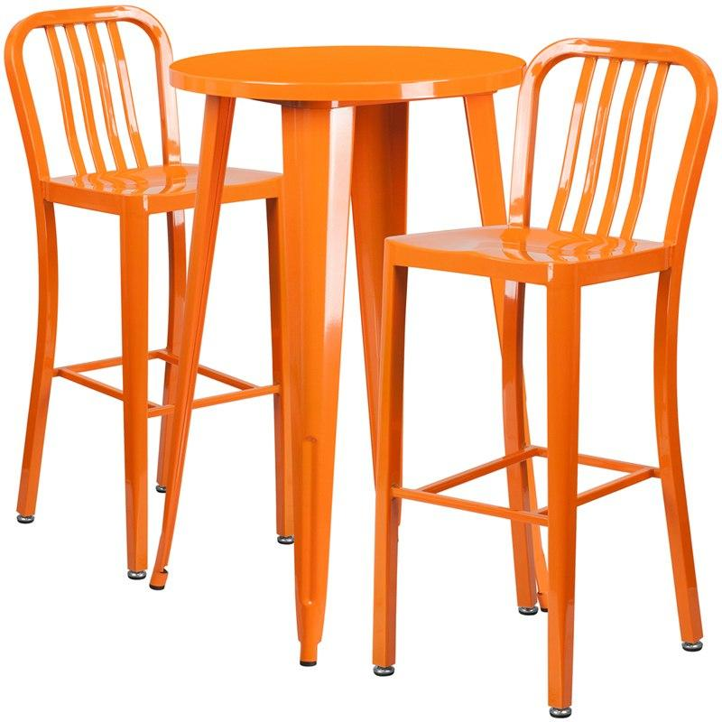 Flash Furniture CH-51080BH-2-30VRT-OR-GG 24'' Round Orange Metal Indoor-Outdoor Bar Table Set with 2 Vertical Slat Back Stools