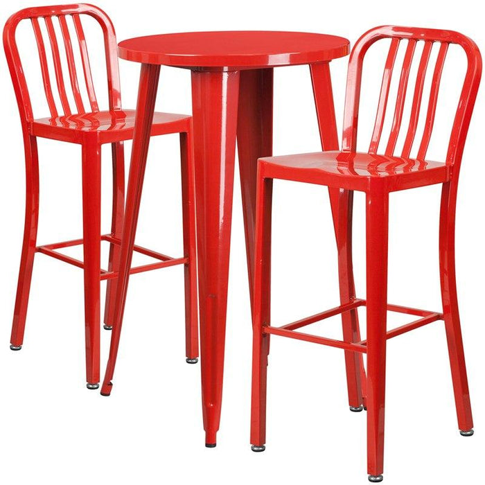 Flash Furniture CH-51080BH-2-30VRT-RED-GG 24'' Round Red Metal Indoor-Outdoor Bar Table Set with 2 Vertical Slat Back Stools
