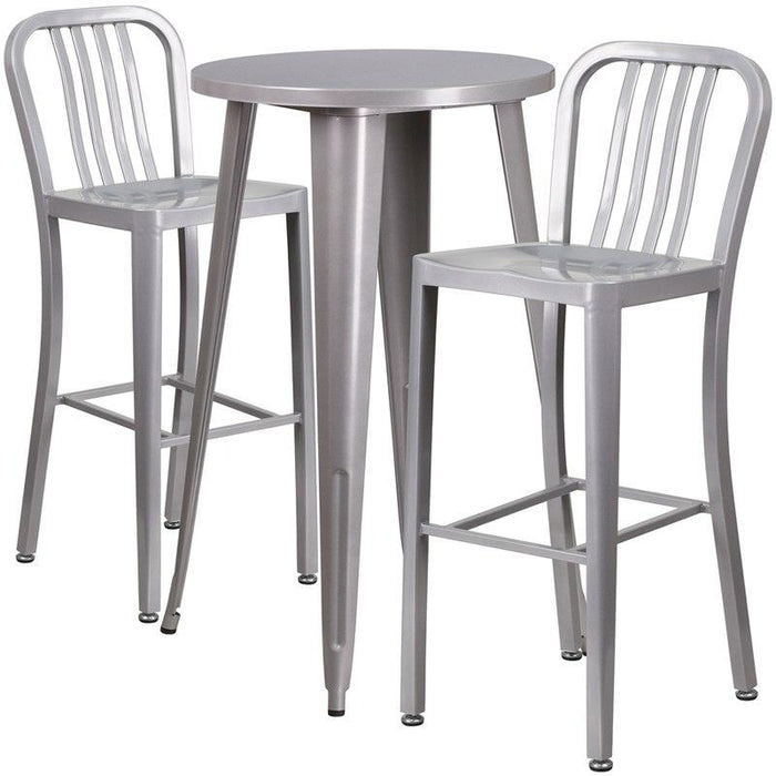 Flash Furniture CH-51080BH-2-30VRT-SIL-GG 24'' Round Silver Metal Indoor-Outdoor Bar Table Set with 2 Vertical Slat Back Stools