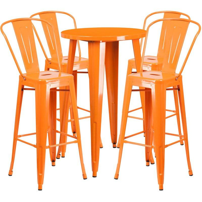 Flash Furniture CH-51080BH-4-30CAFE-OR-GG 24'' Round Orange Metal Indoor-Outdoor Bar Table Set with 4 Cafe Stools