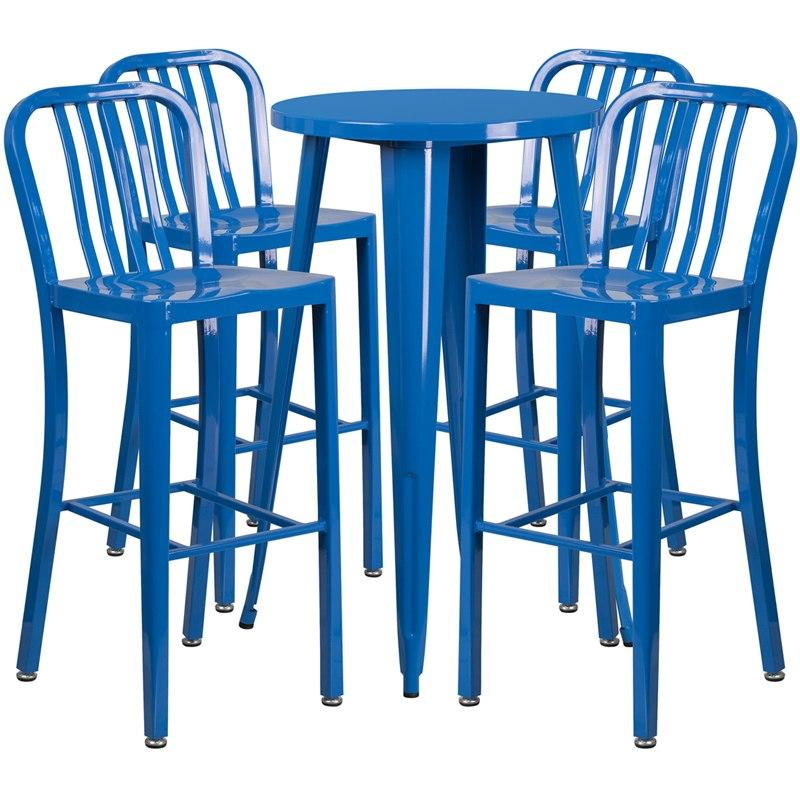 Flash Furniture CH-51080BH-4-30VRT-BL-GG 24'' Round Blue Metal Indoor-Outdoor Bar Table Set with 4 Vertical Slat Back Stools