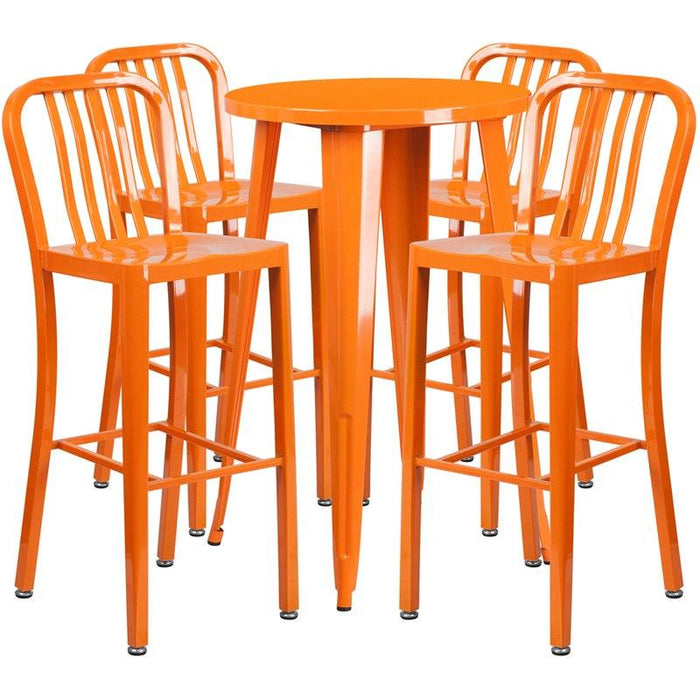 Flash Furniture CH-51080BH-4-30VRT-OR-GG 24'' Round Orange Metal Indoor-Outdoor Bar Table Set with 4 Vertical Slat Back Stools
