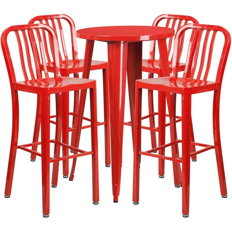 Flash Furniture CH-51080BH-4-30VRT-RED-GG 24'' Round Red Metal Indoor-Outdoor Bar Table Set with 4 Vertical Slat Back Stools