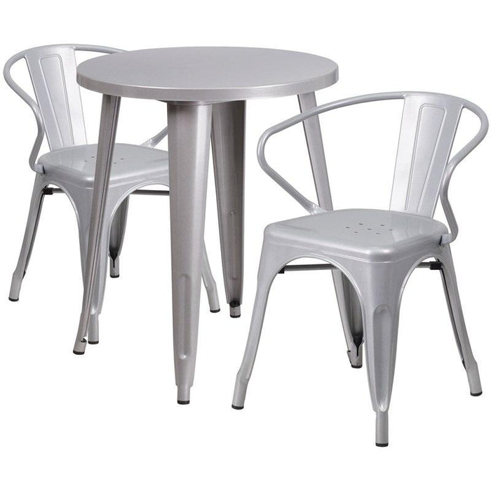 Flash Furniture CH-51080TH-2-18ARM-SIL-GG 24'' Round Silver Metal Indoor-Outdoor Table Set with 2 Arm Chairs