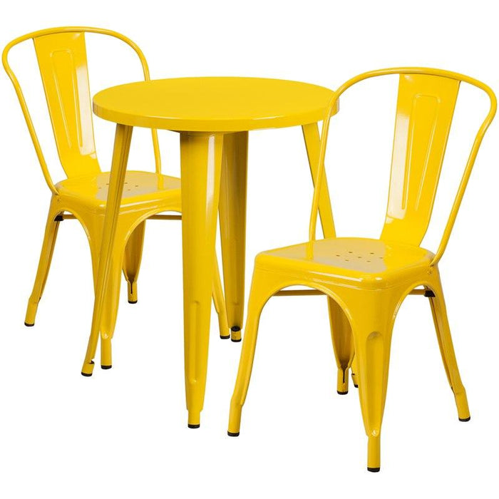Flash Furniture CH-51080TH-2-18CAFE-YL-GG 24'' Round Yellow Metal Indoor-Outdoor Table Set with 2 Cafe Chairs