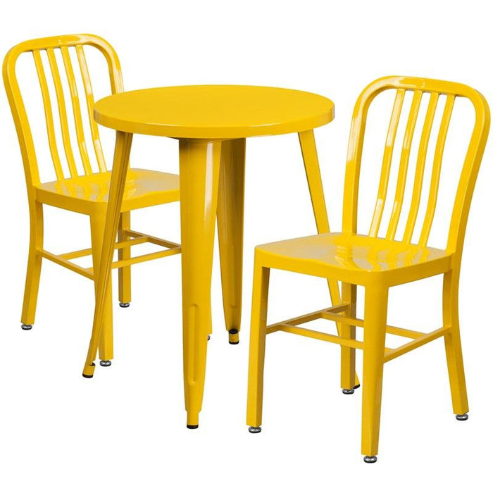 Flash Furniture CH-51080TH-2-18VRT-YL-GG 24'' Round Yellow Metal Indoor-Outdoor Table Set with 2 Vertical Slat Back Chairs