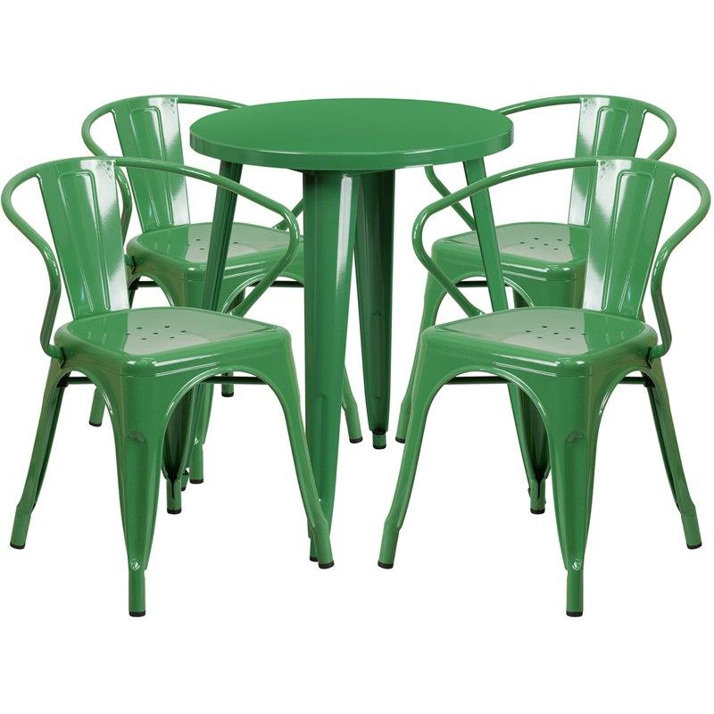 Flash Furniture CH-51080TH-4-18ARM-GN-GG 24'' Round Green Metal Indoor-Outdoor Table Set with 4 Arm Chairs