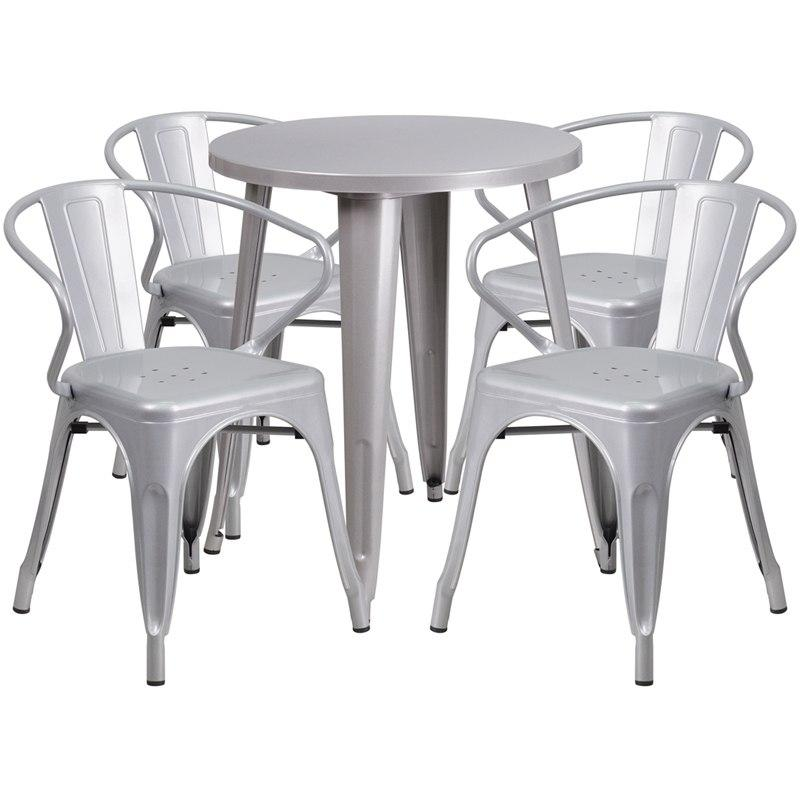 Flash Furniture CH-51080TH-4-18ARM-SIL-GG 24'' Round Silver Metal Indoor-Outdoor Table Set with 4 Arm Chairs