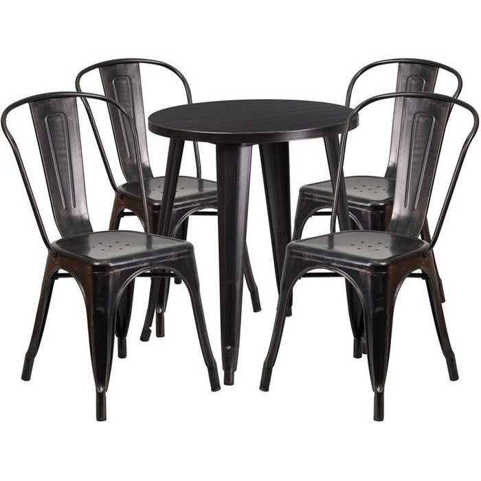 Flash Furniture CH-51080TH-4-18CAFE-BQ-GG 24'' Round Black-Antique Gold Metal Indoor-Outdoor Table Set with 4 Cafe Chairs