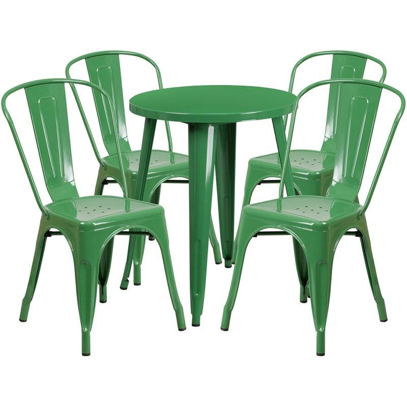 Flash Furniture CH-51080TH-4-18CAFE-GN-GG 24'' Round Green Metal Indoor-Outdoor Table Set with 4 Cafe Chairs