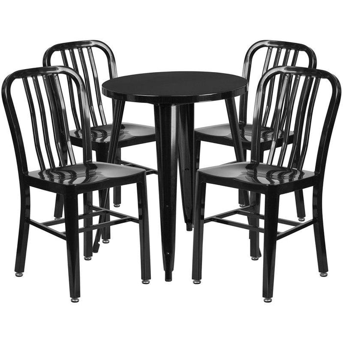 Flash Furniture CH-51080TH-4-18VRT-BK-GG 24'' Round Black Metal Indoor-Outdoor Table Set with 4 Vertical Slat Back Chairs