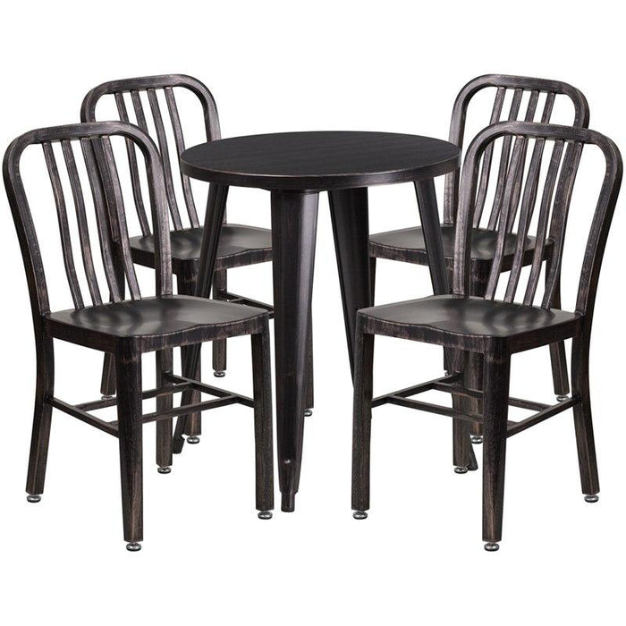 Flash Furniture CH-51080TH-4-18VRT-BQ-GG 24'' Round Black-Antique Gold Metal Indoor-Outdoor Table Set with 4 Vertical Slat Back Chairs