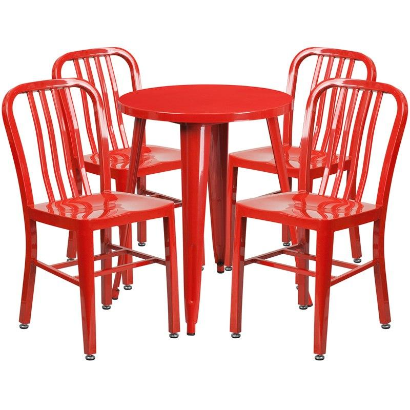 Flash Furniture CH-51080TH-4-18VRT-RED-GG 24'' Round Red Metal Indoor-Outdoor Table Set with 4 Vertical Slat Back Chairs