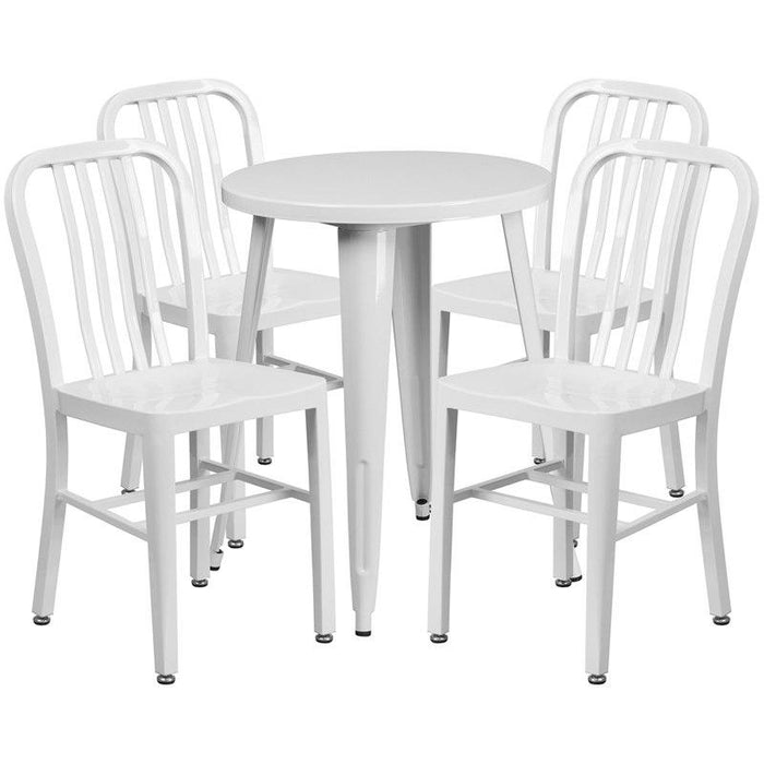Flash Furniture CH-51080TH-4-18VRT-WH-GG 24'' Round White Metal Indoor-Outdoor Table Set with 4 Vertical Slat Back Chairs