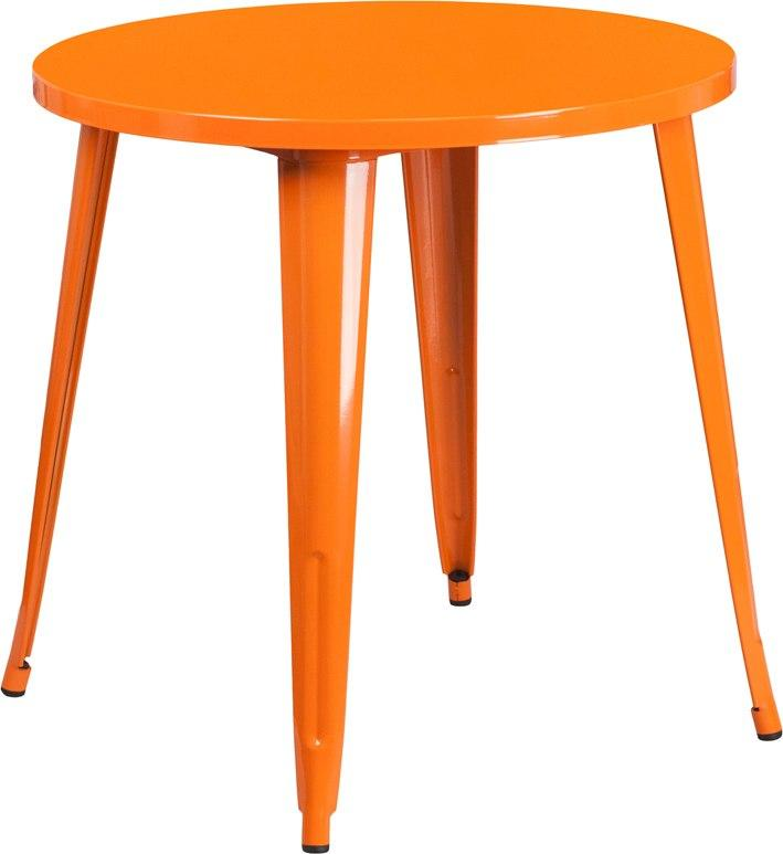 Flash Furniture CH-51090-29-OR-GG 30'' Round Orange Metal Indoor-Outdoor Table