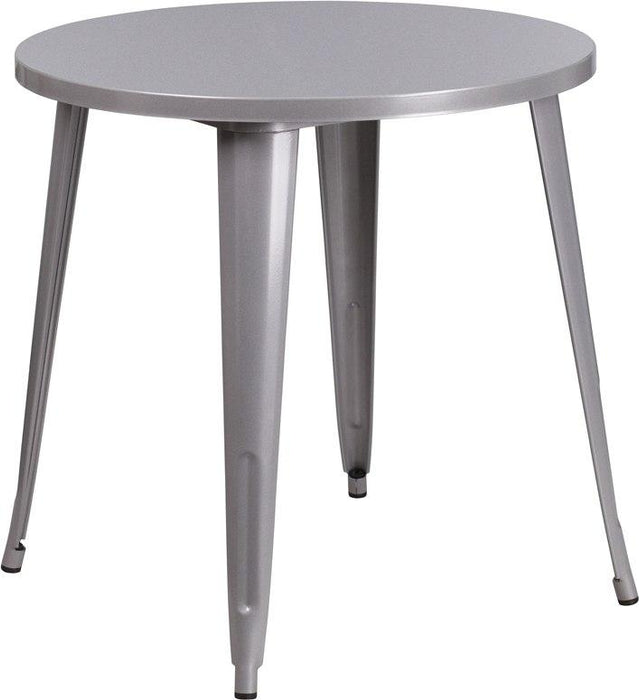 Flash Furniture CH-51090-29-SIL-GG 30'' Round Silver Metal Indoor-Outdoor Table