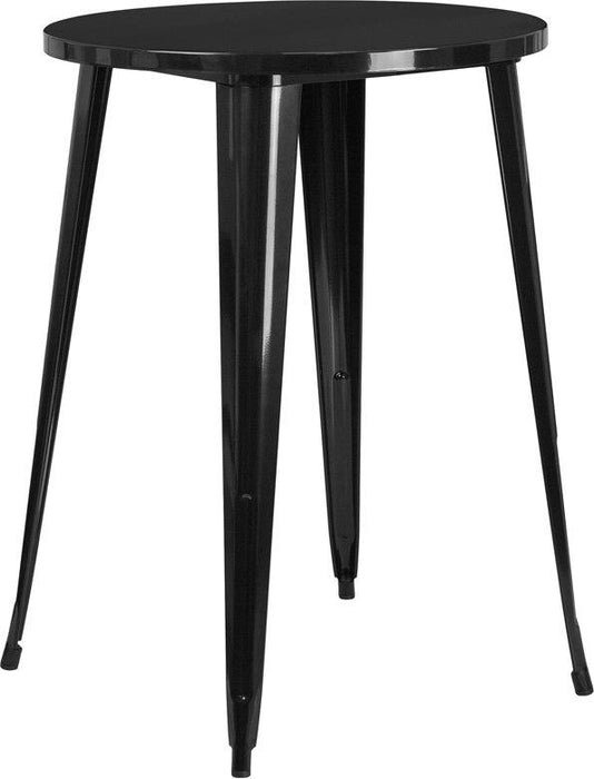 Flash Furniture CH-51090-40-BK-GG 30'' Round Black Metal Indoor-Outdoor Bar Height Table
