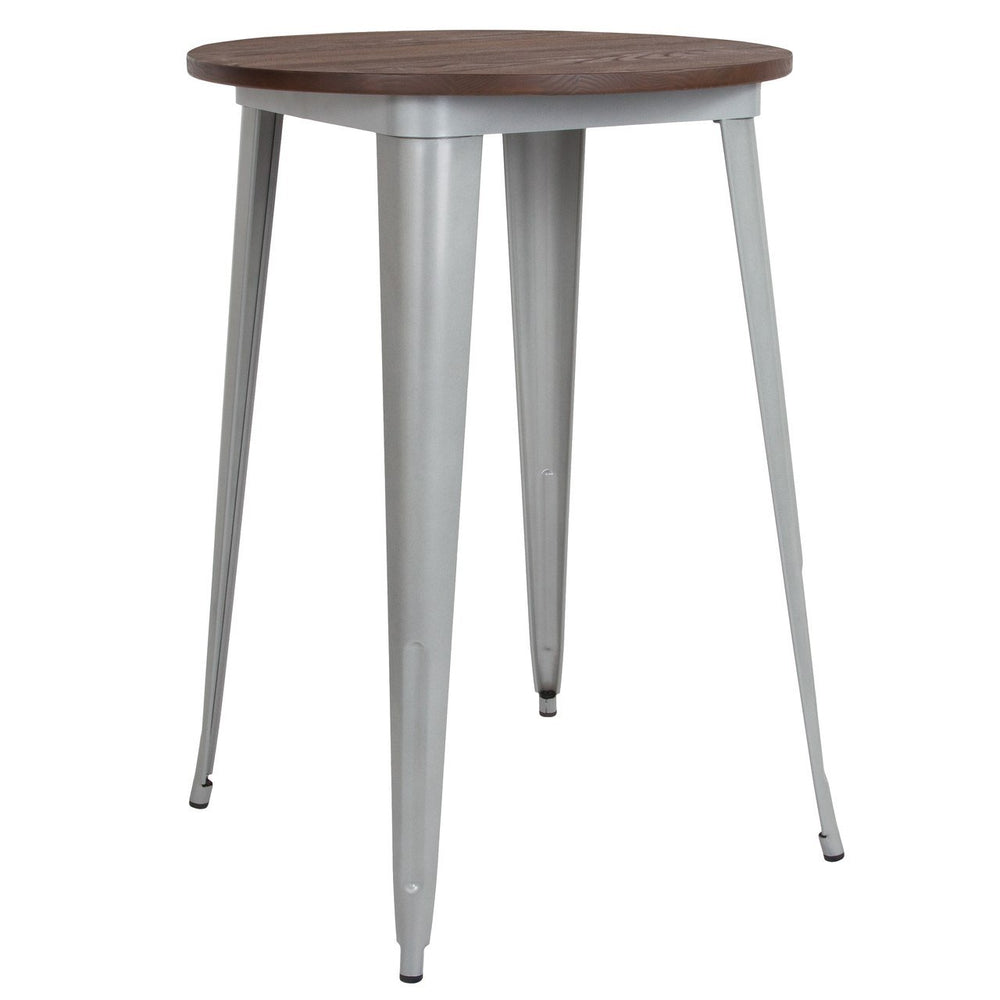 "Flash Furniture CH-51090-40M1-SIL-GG 30"" Round Silver Metal Indoor Bar Height Table with Walnut Rustic Wood Top"