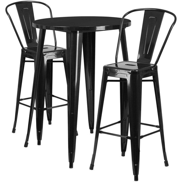 Flash Furniture CH-51090BH-2-30CAFE-BK-GG 30'' Round Black Metal Indoor-Outdoor Bar Table Set with 2 Cafe Stools