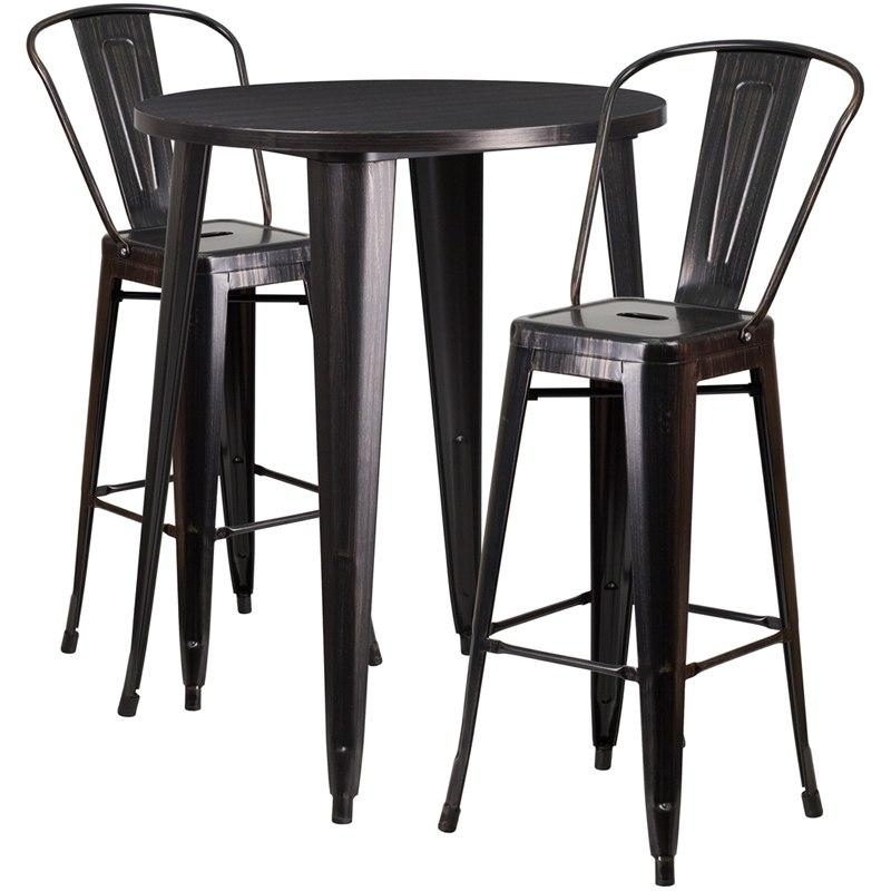 Flash Furniture CH-51090BH-2-30CAFE-BQ-GG 30'' Round Black-Antique Gold Metal Indoor-Outdoor Bar Table Set with 2 Cafe Stools