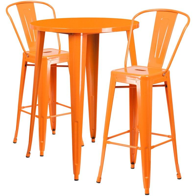 Flash Furniture CH-51090BH-2-30CAFE-OR-GG 30'' Round Orange Metal Indoor-Outdoor Bar Table Set with 2 Cafe Stools