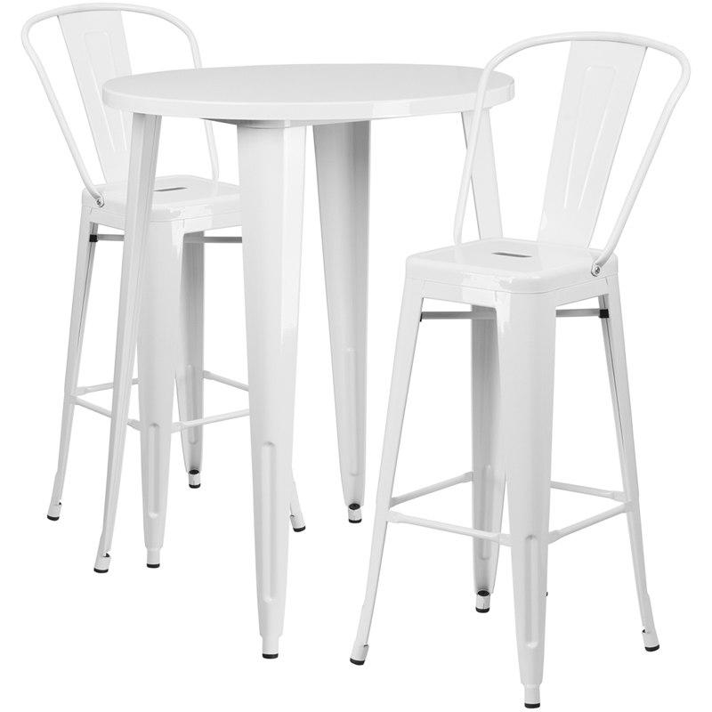 Flash Furniture CH-51090BH-2-30CAFE-WH-GG 30'' Round White Metal Indoor-Outdoor Bar Table Set with 2 Cafe Stools
