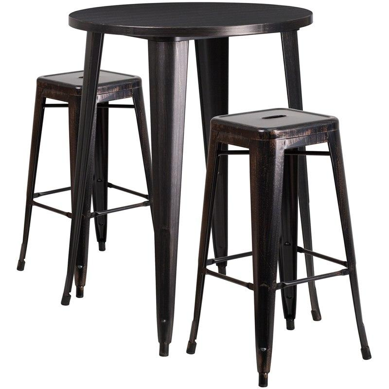Flash Furniture CH-51090BH-2-30SQST-BQ-GG 30'' Round Black-Antique Gold Metal Indoor-Outdoor Bar Table Set with 2 Square Seat Backless Stools