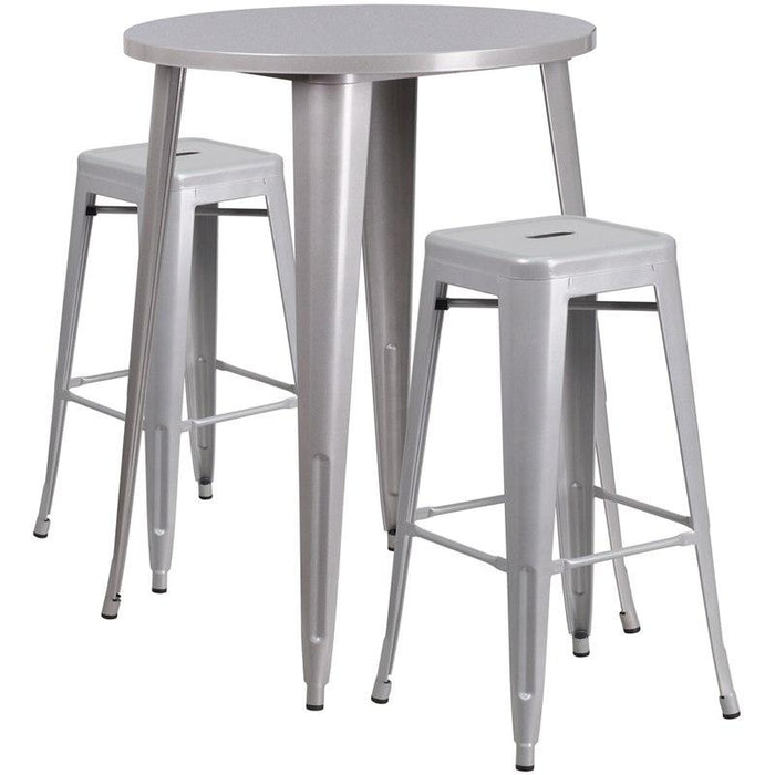 Flash Furniture CH-51090BH-2-30SQST-SIL-GG 30'' Round Silver Metal Indoor-Outdoor Bar Table Set with 2 Square Seat Backless Stools