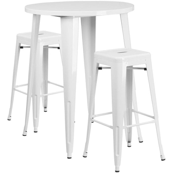 Flash Furniture CH-51090BH-2-30SQST-WH-GG 30'' Round White Metal Indoor-Outdoor Bar Table Set with 2 Square Seat Backless Stools