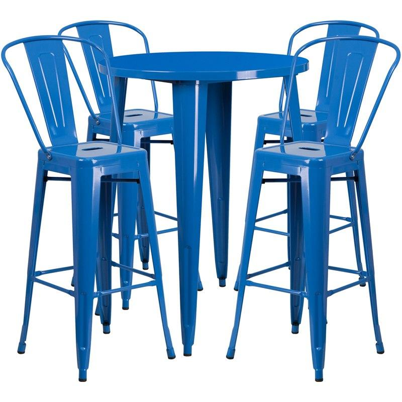 Flash Furniture CH-51090BH-4-30CAFE-BL-GG 30'' Round Blue Metal Indoor-Outdoor Bar Table Set with 4 Cafe Stools