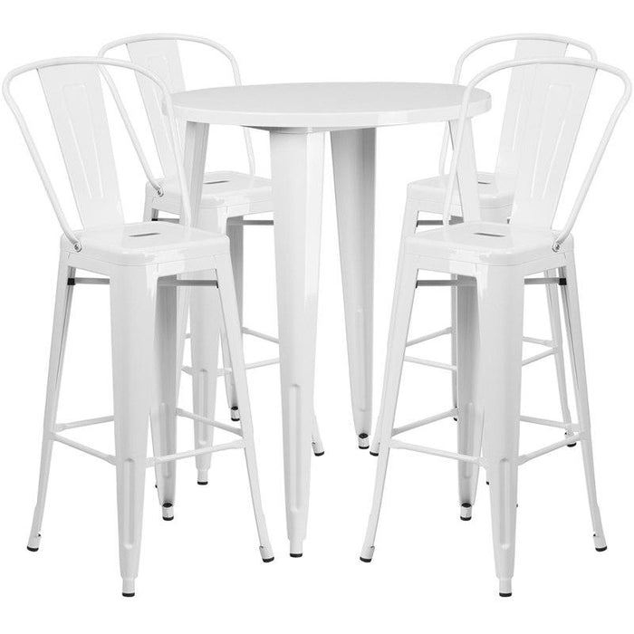 Flash Furniture CH-51090BH-4-30CAFE-WH-GG 30'' Round White Metal Indoor-Outdoor Bar Table Set with 4 Cafe Stools