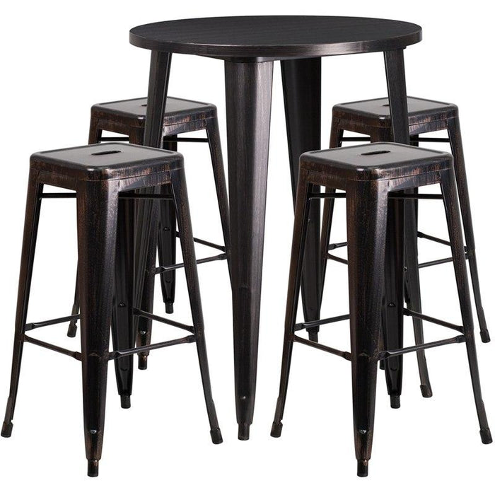 Flash Furniture CH-51090BH-4-30SQST-BQ-GG 30'' Round Black-Antique Gold Metal Indoor-Outdoor Bar Table Set with 4 Square Seat Backless Stools