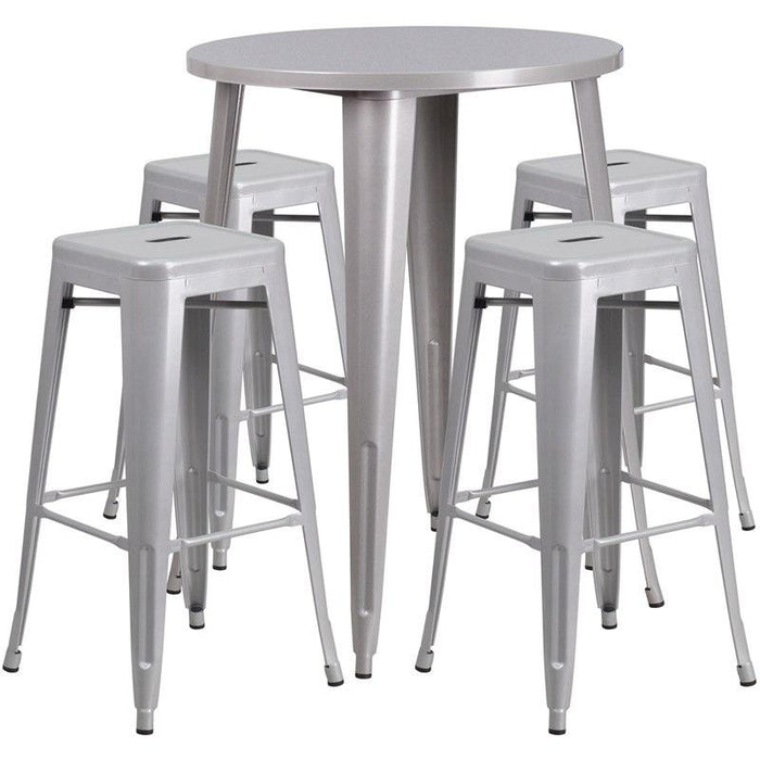 Flash Furniture CH-51090BH-4-30SQST-SIL-GG 30'' Round Silver Metal Indoor-Outdoor Bar Table Set with 4 Square Seat Backless Stools