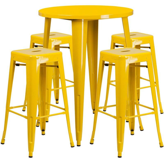 Flash Furniture CH-51090BH-4-30SQST-YL-GG 30'' Round Yellow Metal Indoor-Outdoor Bar Table Set with 4 Square Seat Backless Stools