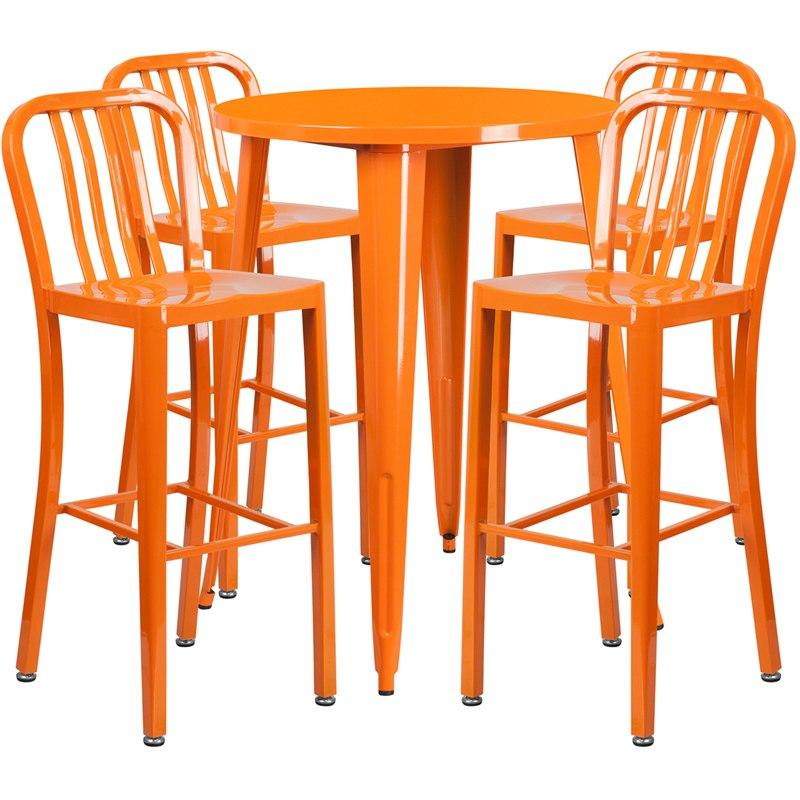 Flash Furniture CH-51090BH-4-30VRT-OR-GG 30'' Round Orange Metal Indoor-Outdoor Bar Table Set with 4 Vertical Slat Back Stools