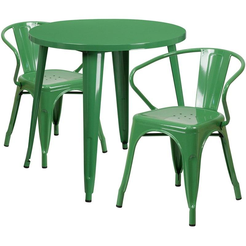 Flash Furniture CH-51090TH-2-18ARM-GN-GG 30'' Round Green Metal Indoor-Outdoor Table Set with 2 Arm Chairs