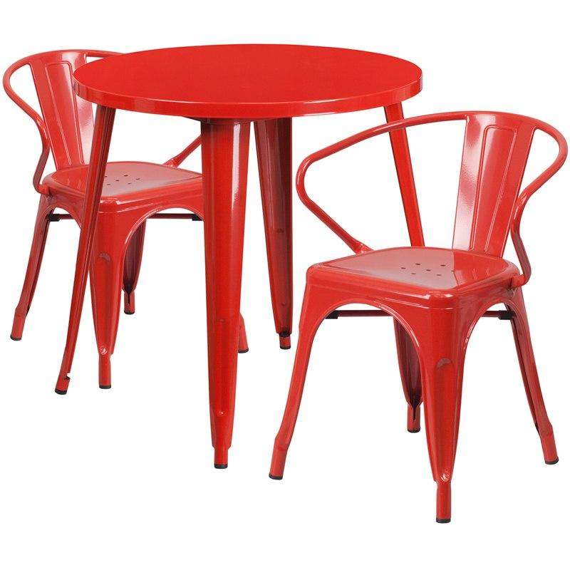 Flash Furniture CH-51090TH-2-18ARM-RED-GG 30'' Round Red Metal Indoor-Outdoor Table Set with 2 Arm Chairs