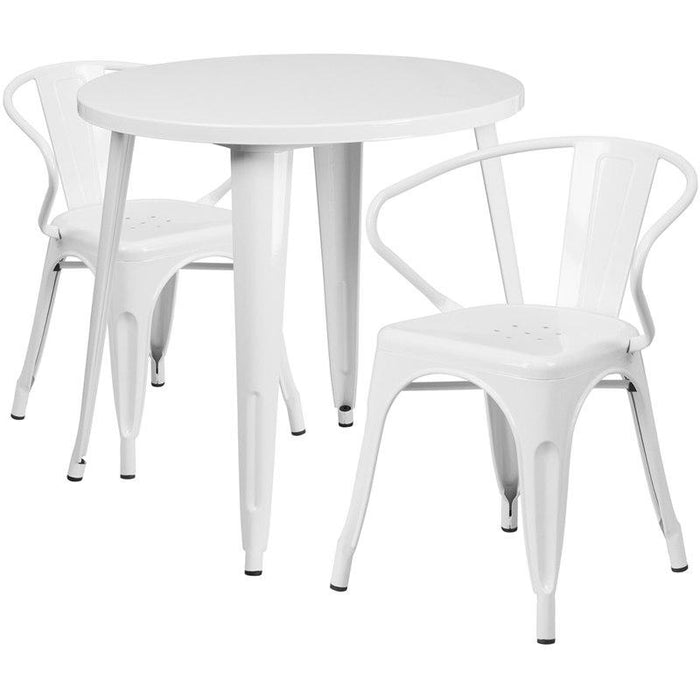 Flash Furniture CH-51090TH-2-18ARM-WH-GG 30'' Round White Metal Indoor-Outdoor Table Set with 2 Arm Chairs