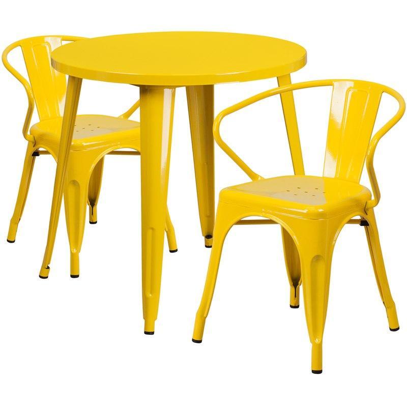 Flash Furniture CH-51090TH-2-18ARM-YL-GG 30'' Round Yellow Metal Indoor-Outdoor Table Set with 2 Arm Chairs