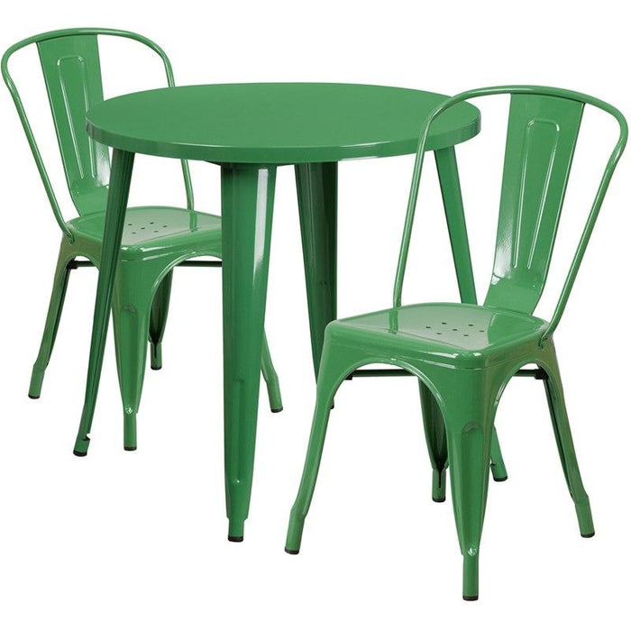 Flash Furniture CH-51090TH-2-18CAFE-GN-GG 30'' Round Green Metal Indoor-Outdoor Table Set with 2 Cafe Chairs