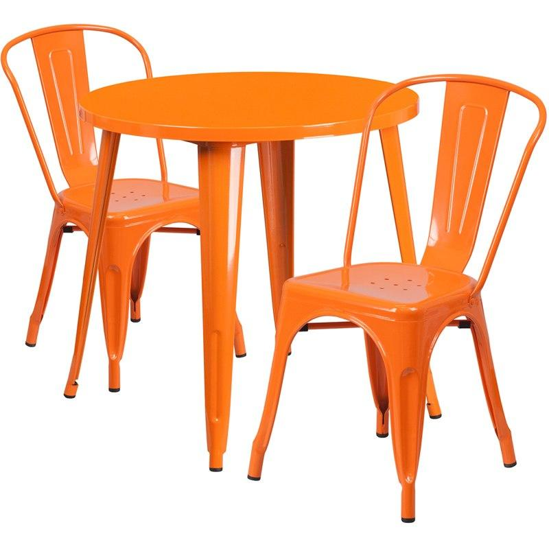 Flash Furniture CH-51090TH-2-18CAFE-OR-GG 30'' Round Orange Metal Indoor-Outdoor Table Set with 2 Cafe Chairs