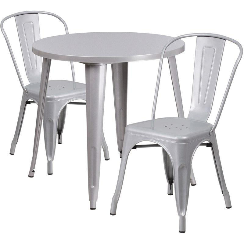 Flash Furniture CH-51090TH-2-18CAFE-SIL-GG 30'' Round Silver Metal Indoor-Outdoor Table Set with 2 Cafe Chairs