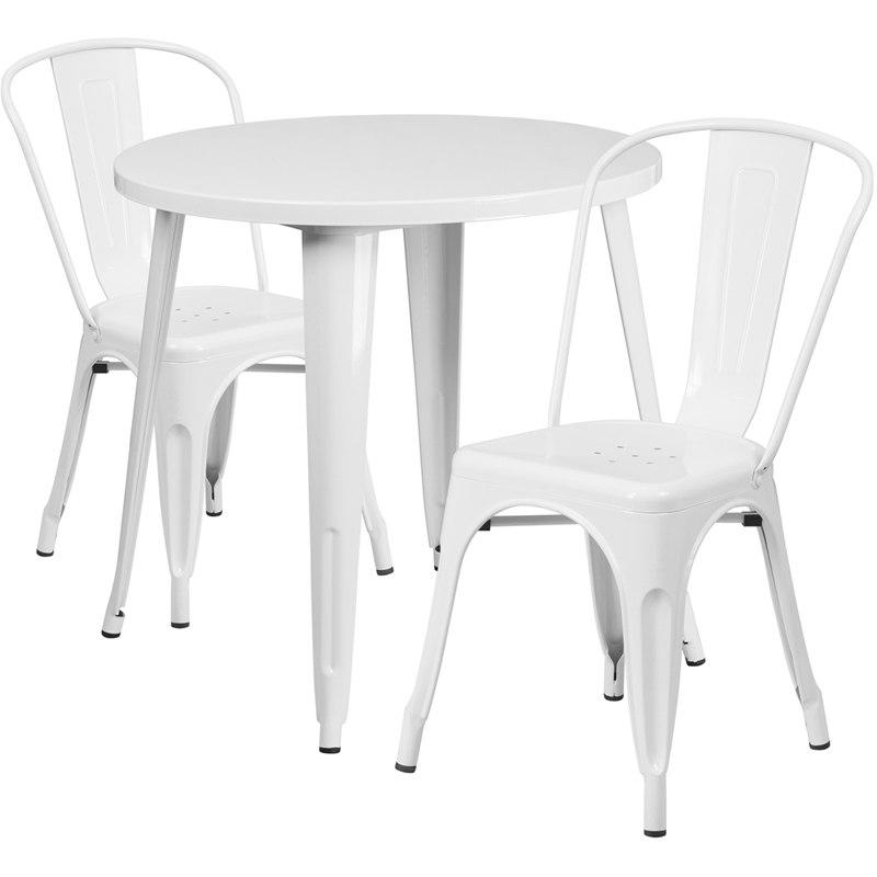 Flash Furniture CH-51090TH-2-18CAFE-WH-GG 30'' Round White Metal Indoor-Outdoor Table Set with 2 Cafe Chairs