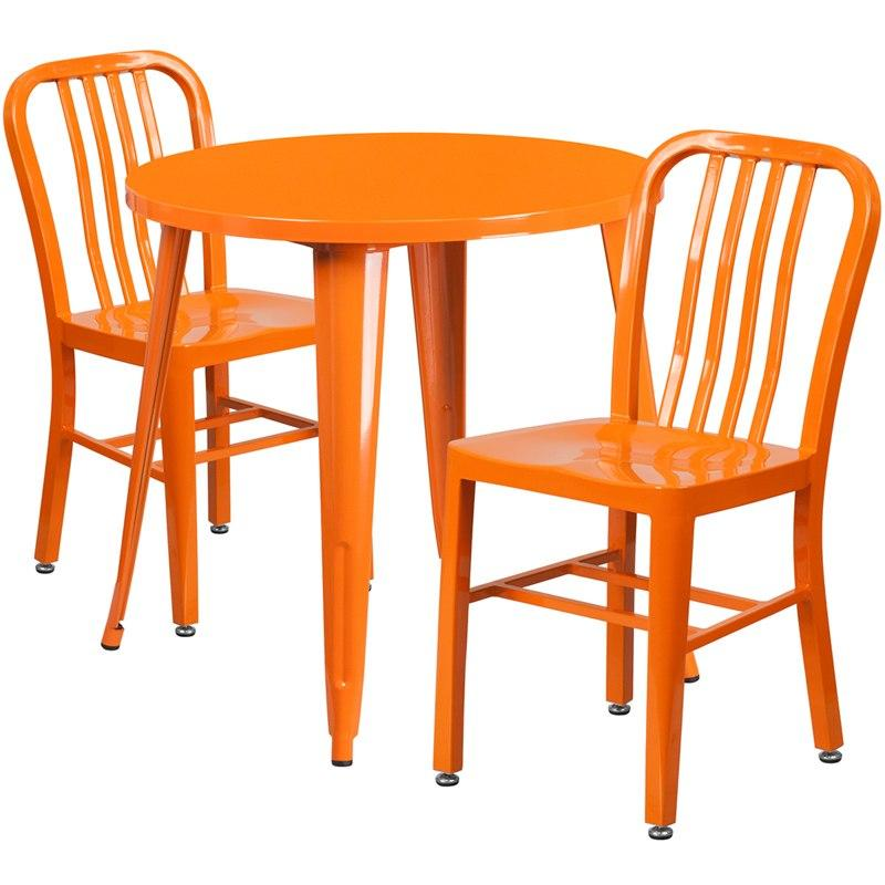 Flash Furniture CH-51090TH-2-18VRT-OR-GG 30'' Round Orange Metal Indoor-Outdoor Table Set with 2 Vertical Slat Back Chairs