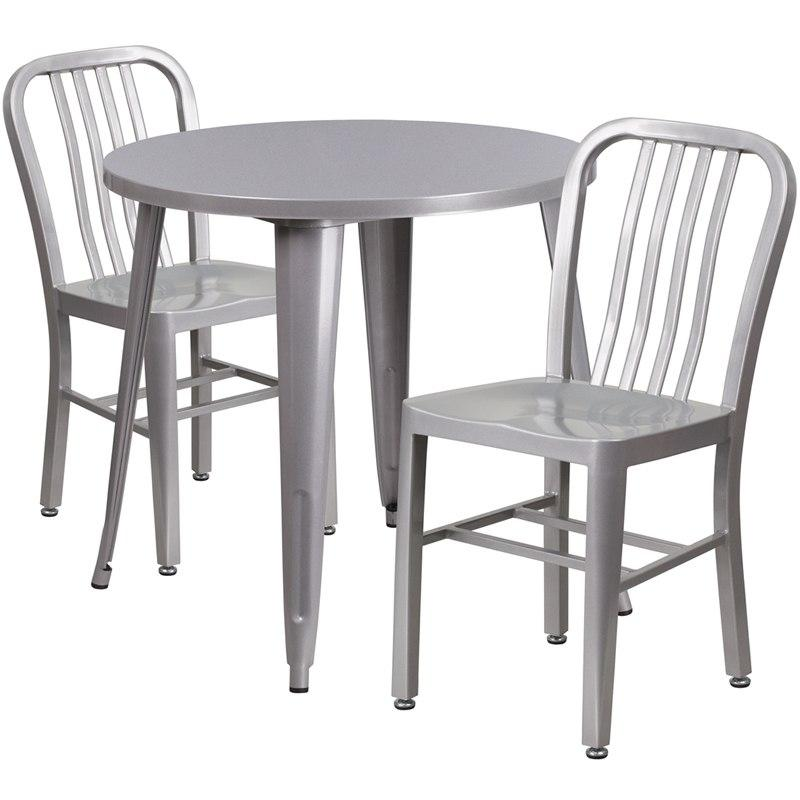 Flash Furniture CH-51090TH-2-18VRT-SIL-GG 30'' Round Silver Metal Indoor-Outdoor Table Set with 2 Vertical Slat Back Chairs